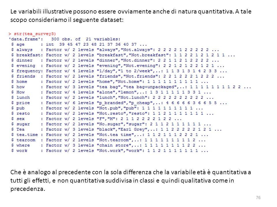 76 Le variabili illustrative possono essere ovviamente anche di natura quantitativa. A tale scopo consideriamo il seguente dataset: Che è analogo al p