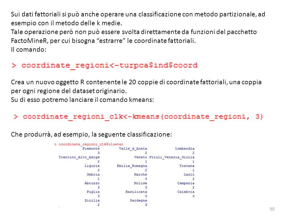 Sui dati fattoriali si può anche operare una classificazione con metodo partizionale, ad esempio con il metodo delle k medie. Tale operazione però non
