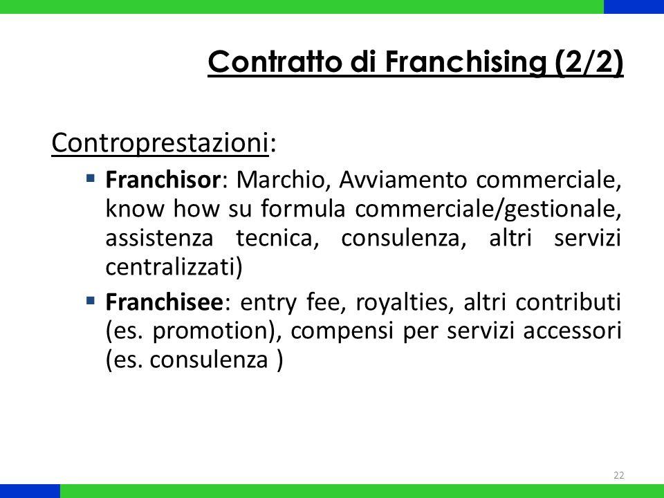 22 Contratto di Franchising (2/2) Controprestazioni: Franchisor: Marchio, Avviamento commerciale, know how su formula commerciale/gestionale, assisten