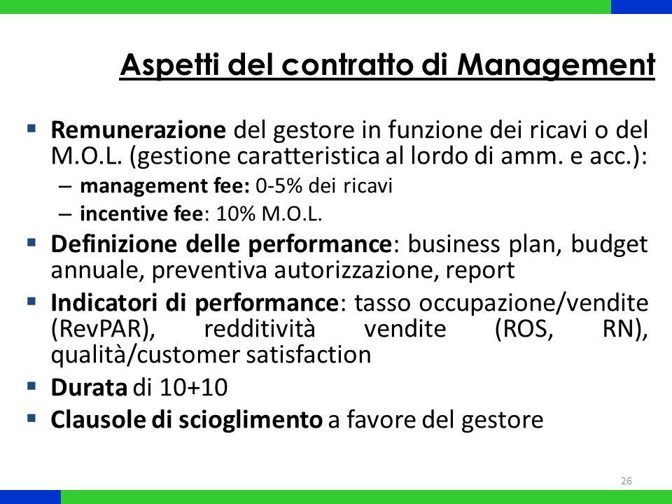 26 Aspetti del contratto di Management Remunerazione del gestore in funzione dei ricavi o del M.O.L. (gestione caratteristica al lordo di amm. e acc.)