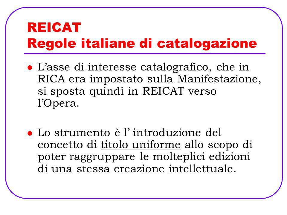 REICAT Regole italiane di catalogazione Lasse di interesse catalografico, che in RICA era impostato sulla Manifestazione, si sposta quindi in REICAT v