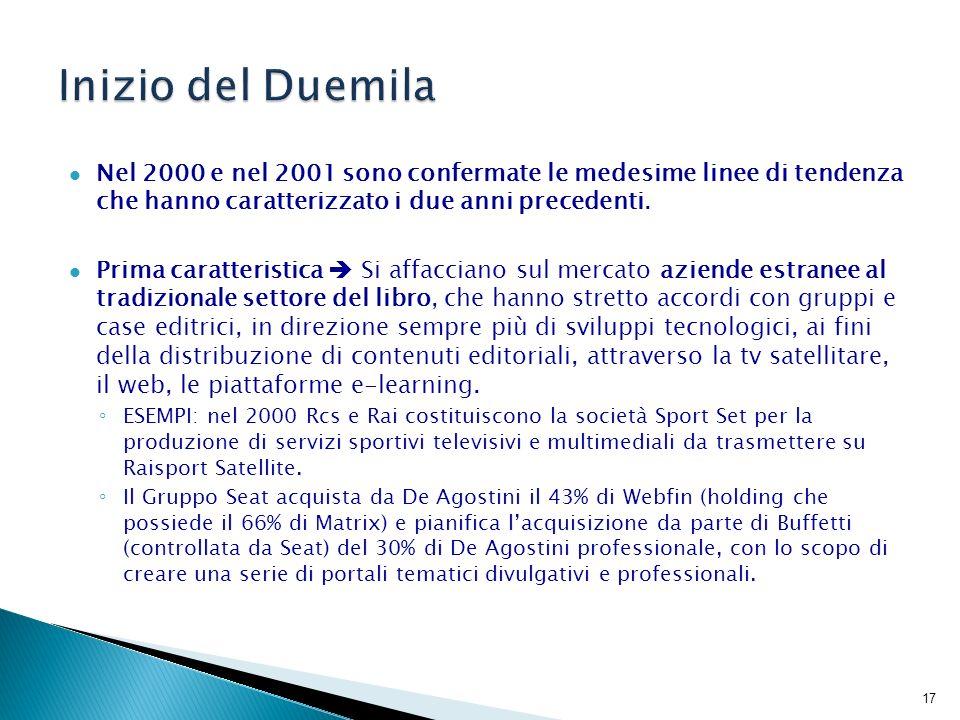Seconda caratteristica processi di internazionalizzazione, non solo da parte di editori stranieri che acquisiscono case editrici italiane.