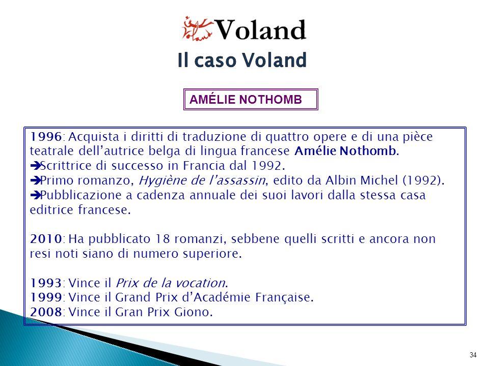 35 1996: Voland acquista 4 romanzi e 1 piéce teatrale di Amélie Nothomb.