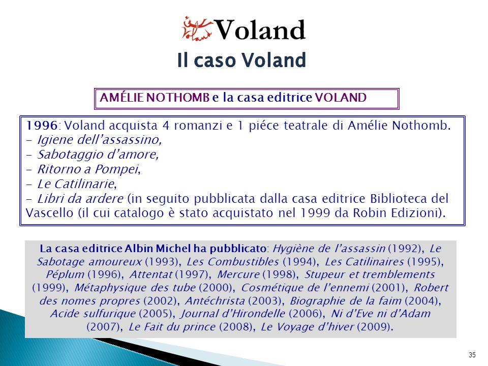 36 1997-1998: Voland traduce i primi due titoli di Amélie Nothomb, che non riscuotono il medesimo successo ottenuto in Francia.