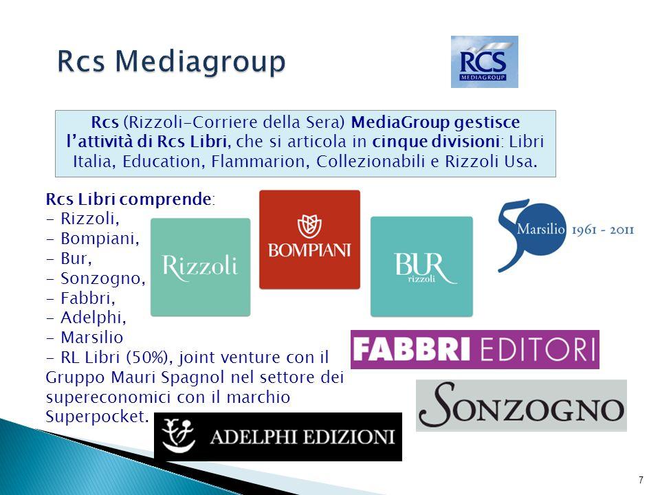 8 In Rcs MediaGroup fanno parte quotidiani nazionali, come il Corriere della Sera e La Gazzetta dello Sport, oltre a numerosi periodici.