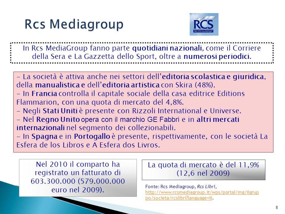 9 Il Gruppo editoriale Mauri Spagnol, nato come holding di partecipazione nel 2005, è controllato da Messaggerie Italiane (73,7%), dalla famiglia Spagnol (23%) e da Andrea Micheli (3,23%).