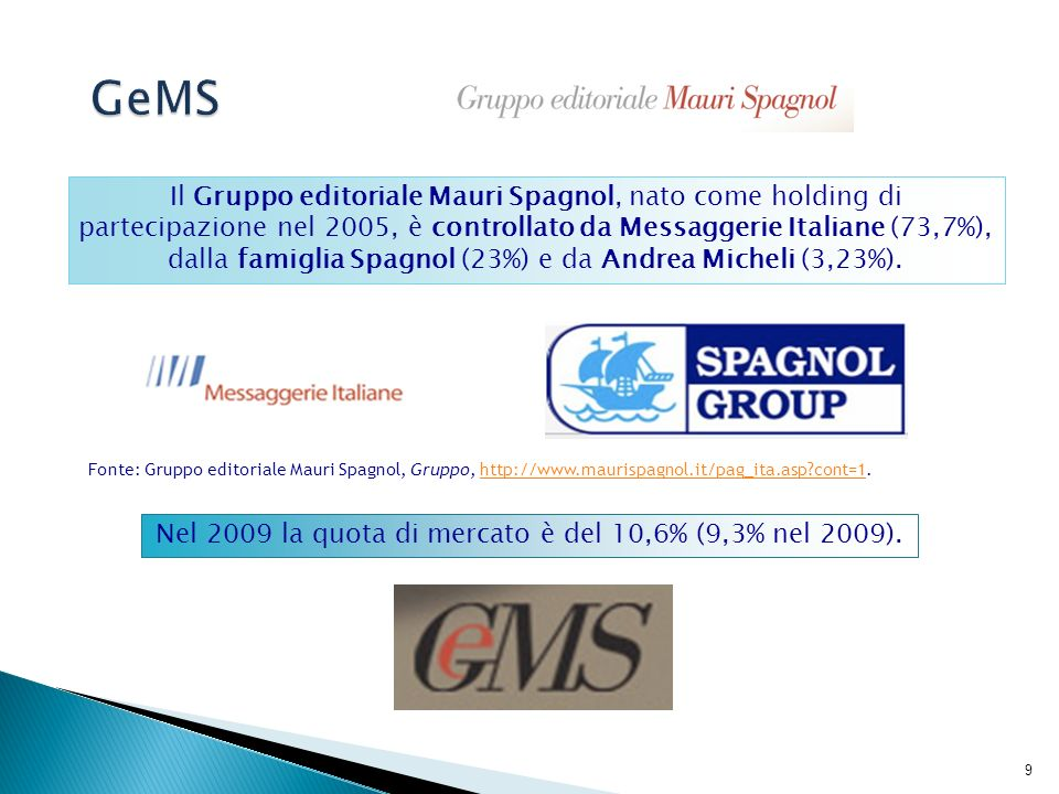 10 Il Gruppo GeMS comprende: - Longanesi, - Garzanti, - Vallardi, - Guanda, - Corbaccio, - Tea, - Nord, - Salani, - Ponte delle Grazie, - La Coccinella, - Bollati Boringhieri, - Chiarelettere (49%), - Fazi Editore (35%), - RL Libri (50%), società editrice che sviluppa il mass- market in joint venture con Rcs Libri (Superpocket).