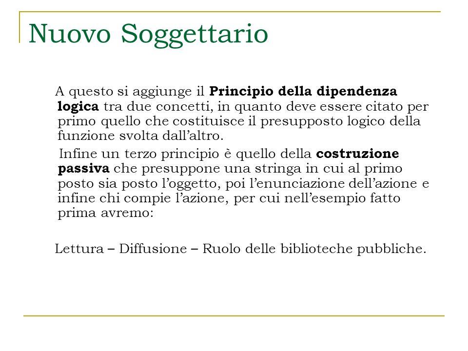 Nuovo Soggettario Alcuni esempi Spedizioni polari – Partecipazione [degli] Italiani Spedizioni polari è il Concetto chiave, che va quindi in prima posizione.