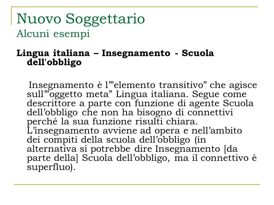 Nuovo Soggettario Alcuni esempi Lingua italiana – Insegnamento [agli] Immigrati arabi In questo esempio ritroviamo, con la stessa funzione i primi due elementi, mentre Immigrati arabi è un benefeciario.