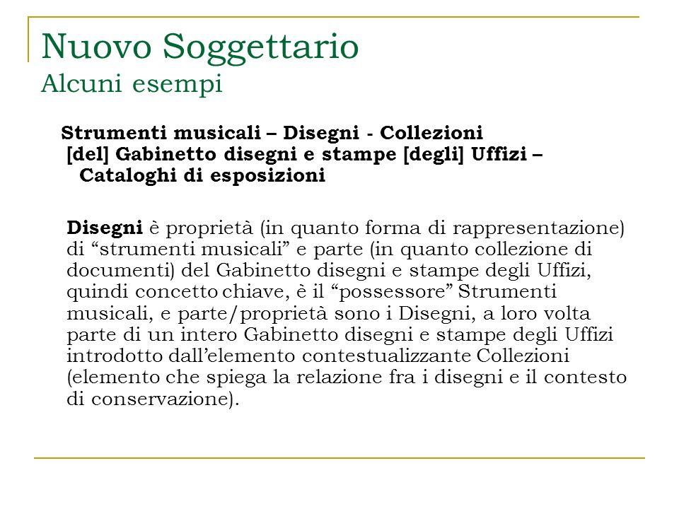 Nuovo Soggettario Ruoli complementari Nellesempio precedente Cataloghi di esposizione è un complemento.