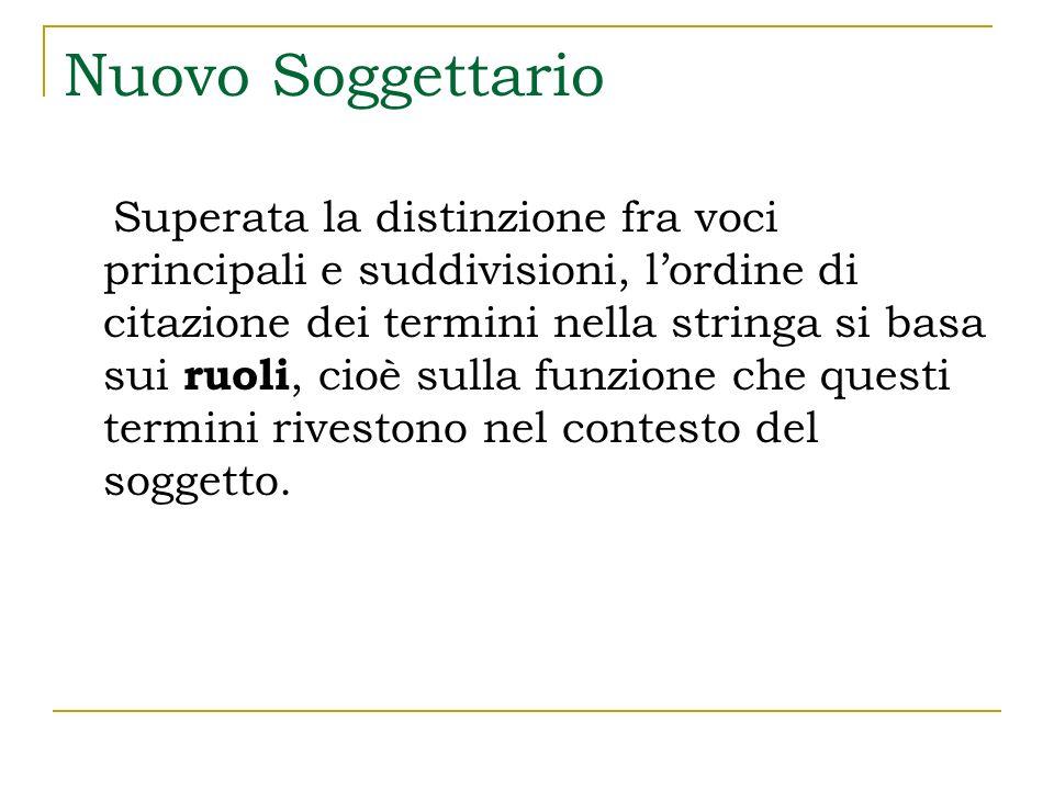 Nuovo Soggettario Nella logica del vecchio Soggettario la costruzione sintattica privilegia il concetto principale.