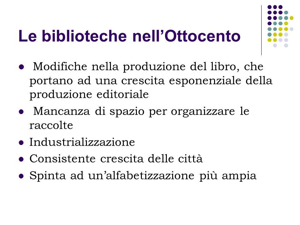 Le biblioteche nellOttocento Modifiche nella produzione del libro, che portano ad una crescita esponenziale della produzione editoriale Mancanza di sp