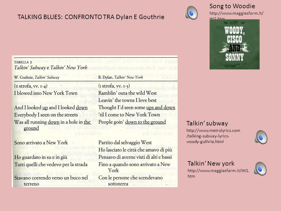 Talkin subway http://www.metrolyrics.com /talking-subway-lyrics- woody-guthrie.html Talkin New york http://www.maggiesfarm.it/ttt1. htm TALKING BLUES: