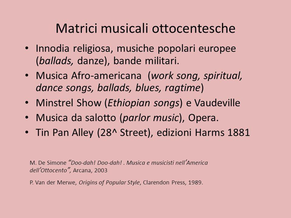 Matrici musicali ottocentesche Innodia religiosa, musiche popolari europee (ballads, danze), bande militari. Musica Afro-americana (work song, spiritu