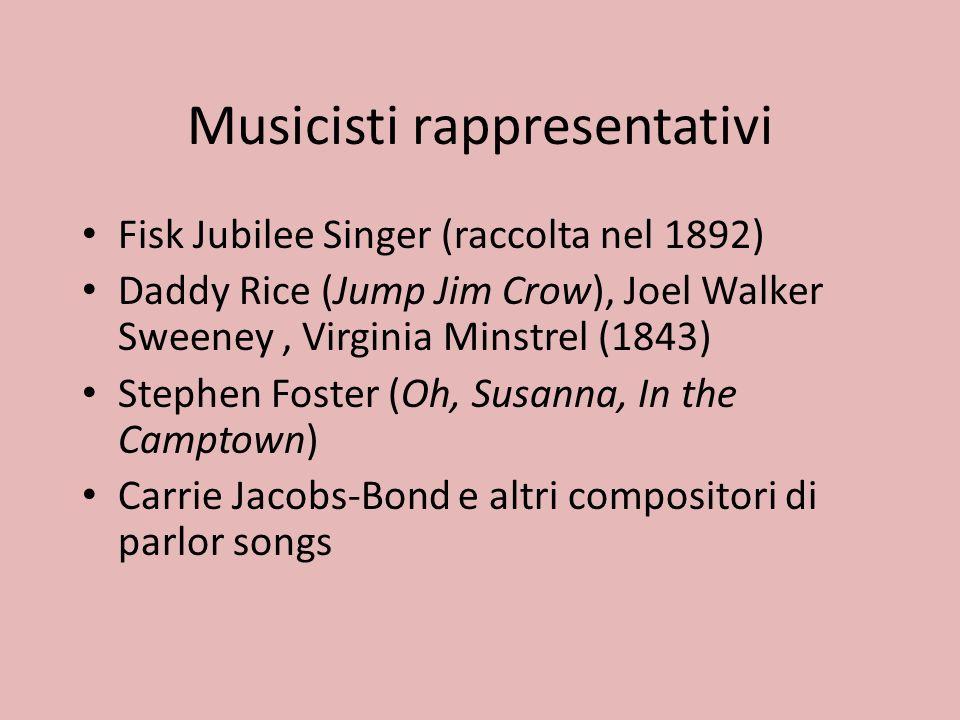 Musicisti rappresentativi Fisk Jubilee Singer (raccolta nel 1892) Daddy Rice (Jump Jim Crow), Joel Walker Sweeney, Virginia Minstrel (1843) Stephen Fo
