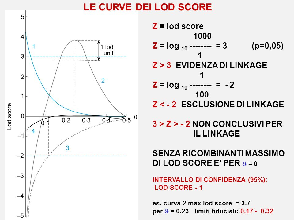 Z = lod score 1000 Z = log 10 -------- = 3 (p=0,05) 1 Z > 3 EVIDENZA DI LINKAGE 1 Z = log 10 -------- = - 2 100 Z < - 2 ESCLUSIONE DI LINKAGE 3 > Z >