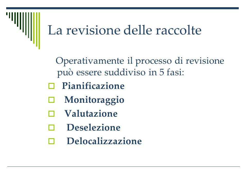 La revisione delle raccolte Operativamente il processo di revisione può essere suddiviso in 5 fasi: Pianificazione Monitoraggio Valutazione Deselezione Delocalizzazione