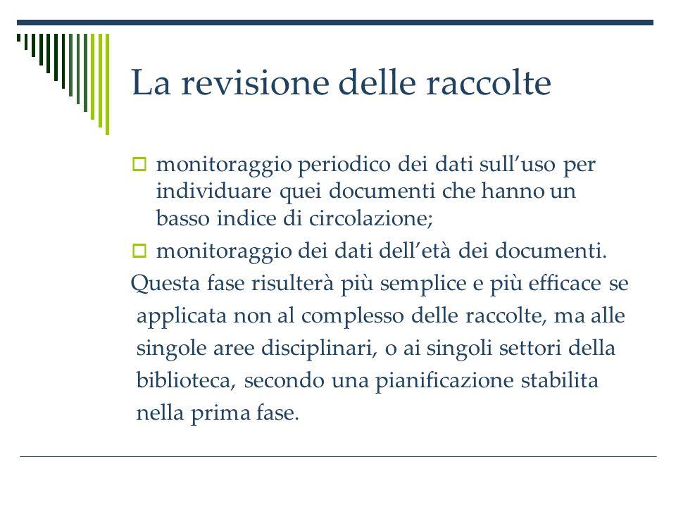 La revisione delle raccolte monitoraggio periodico dei dati sulluso per individuare quei documenti che hanno un basso indice di circolazione; monitoraggio dei dati delletà dei documenti.