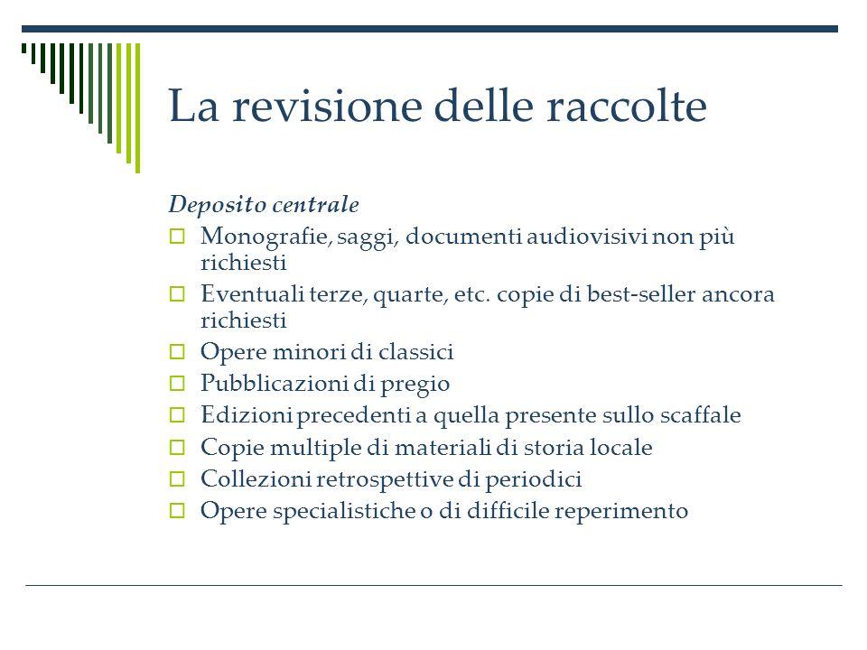 La revisione delle raccolte Deposito centrale Monografie, saggi, documenti audiovisivi non più richiesti Eventuali terze, quarte, etc.