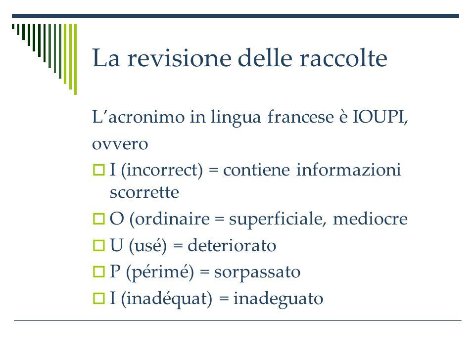 La revisione delle raccolte Lacronimo in lingua francese è IOUPI, ovvero I (incorrect) = contiene informazioni scorrette O (ordinaire = superficiale, mediocre U (usé) = deteriorato P (périmé) = sorpassato I (inadéquat) = inadeguato