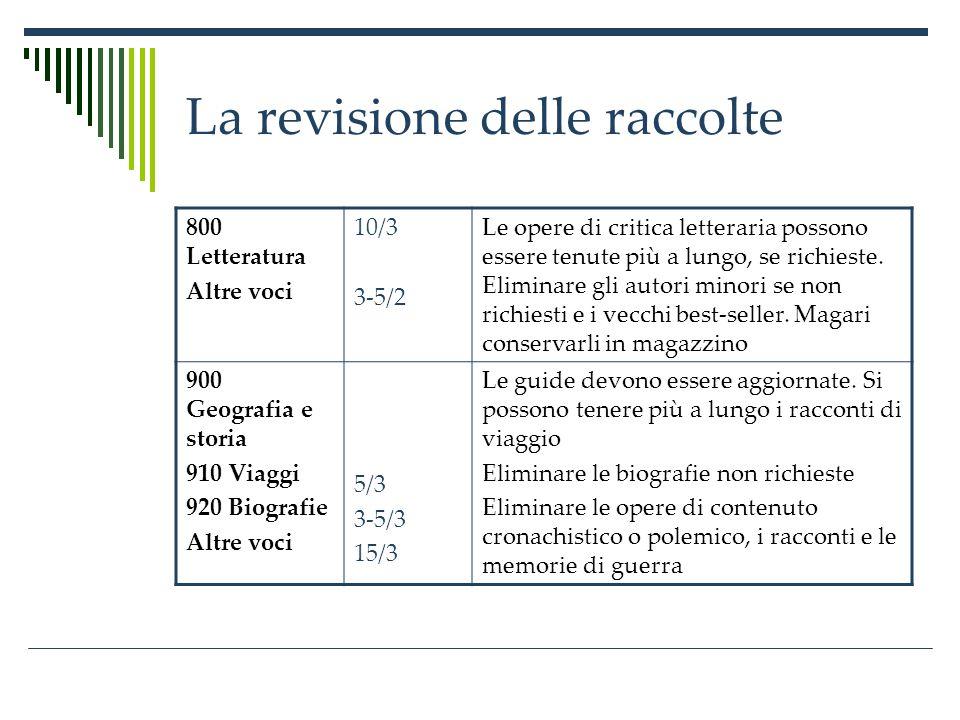 La revisione delle raccolte 800 Letteratura Altre voci 10/3 3-5/2 Le opere di critica letteraria possono essere tenute più a lungo, se richieste.