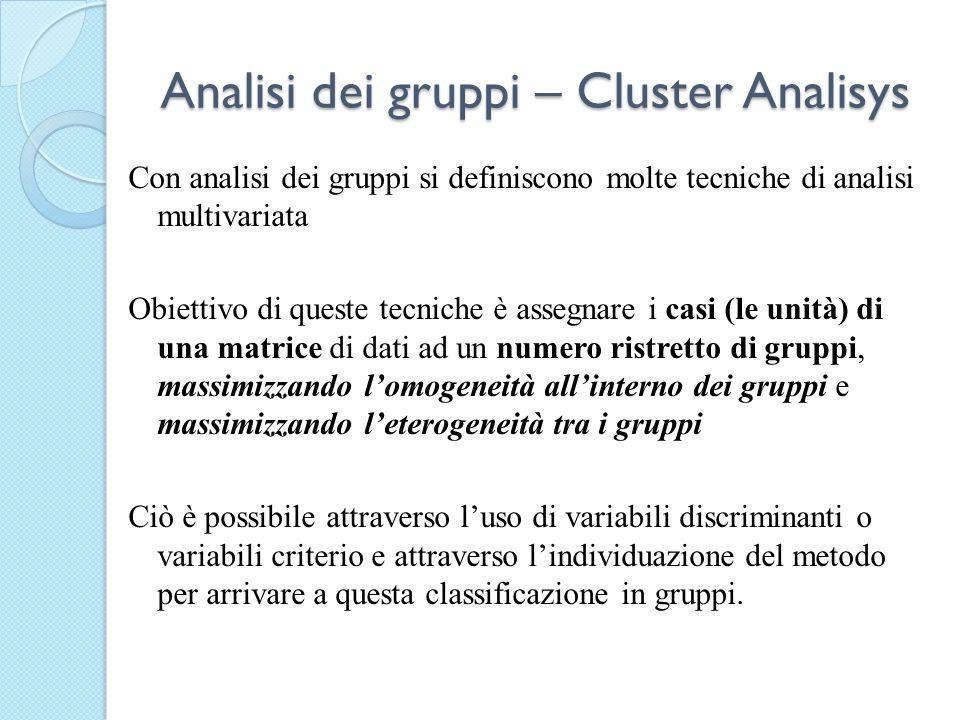 Analisi dei gruppi – Cluster Analisys Con analisi dei gruppi si definiscono molte tecniche di analisi multivariata Obiettivo di queste tecniche è asse