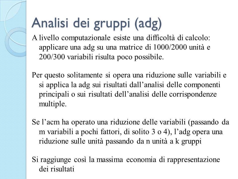 Analisi dei gruppi (adg) A livello computazionale esiste una difficoltà di calcolo: applicare una adg su una matrice di 1000/2000 unità e 200/300 vari
