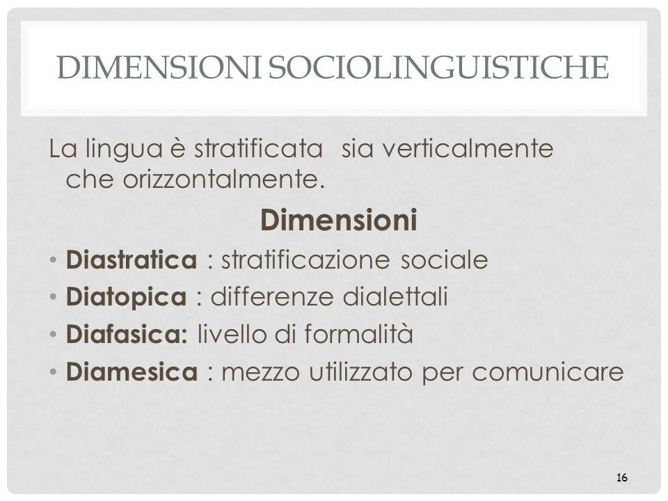 16 DIMENSIONI SOCIOLINGUISTICHE La lingua è stratificata sia verticalmente che orizzontalmente. Dimensioni Diastratica : stratificazione sociale Diato