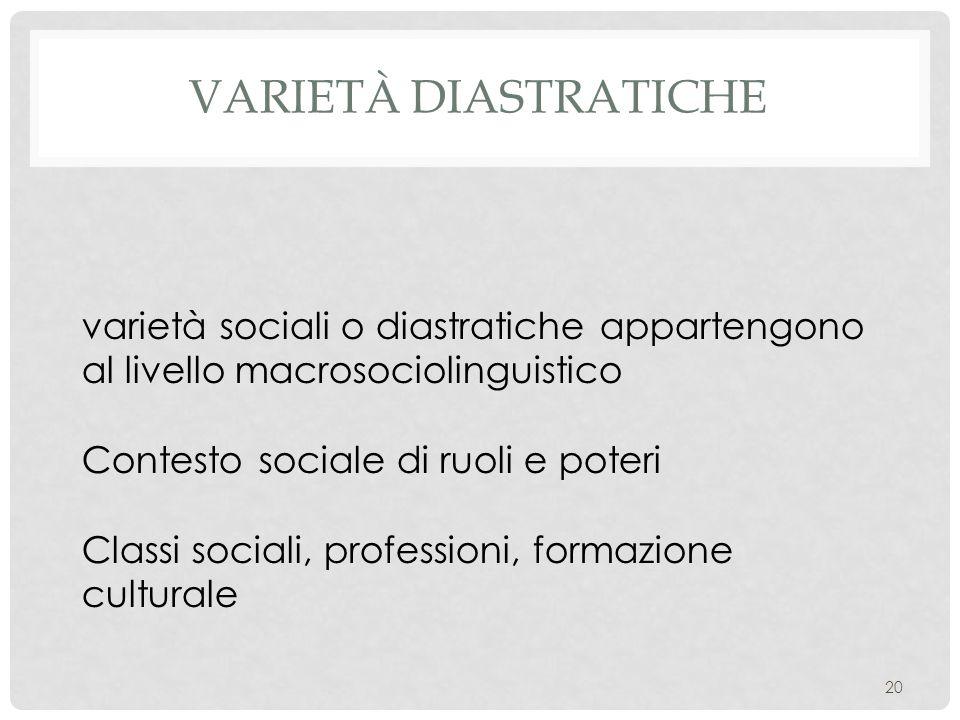 VARIETÀ DIASTRATICHE 20 varietà sociali o diastratiche appartengono al livello macrosociolinguistico Contesto sociale di ruoli e poteri Classi sociali