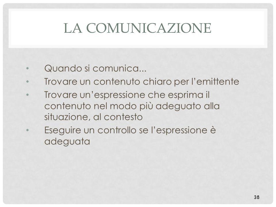 38 LA COMUNICAZIONE Quando si comunica... Trovare un contenuto chiaro per lemittente Trovare unespressione che esprima il contenuto nel modo più adegu