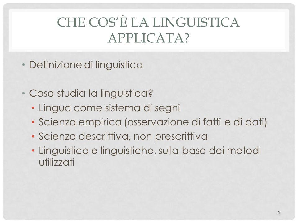 CHE COSÈ LA LINGUISTICA APPLICATA? Definizione di linguistica Cosa studia la linguistica? Lingua come sistema di segni Scienza empirica (osservazione