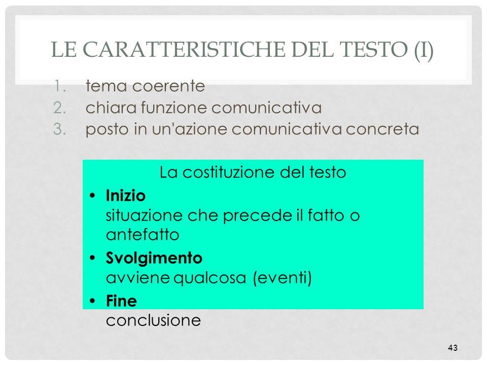 43 LE CARATTERISTICHE DEL TESTO (I) 1.tema coerente 2.chiara funzione comunicativa 3.posto in un'azione comunicativa concreta La costituzione del test