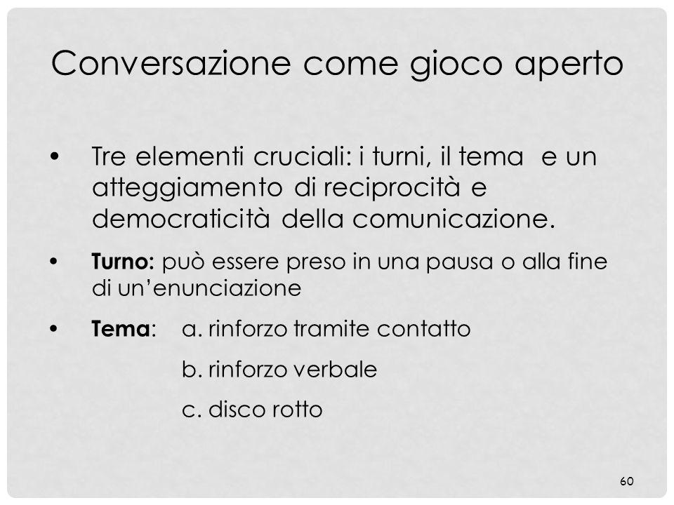 60 Conversazione come gioco aperto Tre elementi cruciali: i turni, il tema e un atteggiamento di reciprocità e democraticità della comunicazione. Turn