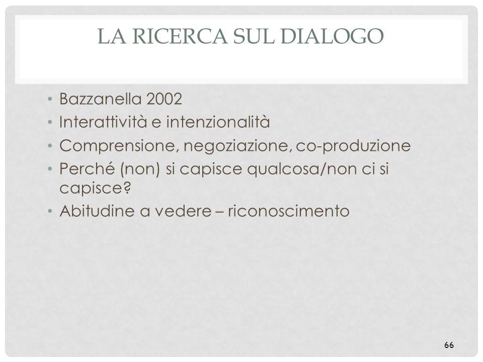 LA RICERCA SUL DIALOGO Bazzanella 2002 Interattività e intenzionalità Comprensione, negoziazione, co-produzione Perché (non) si capisce qualcosa/non c