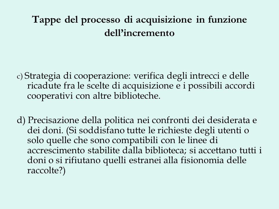 Tappe del processo di acquisizione in funzione dellincremento c) Strategia di cooperazione: verifica degli intrecci e delle ricadute fra le scelte di