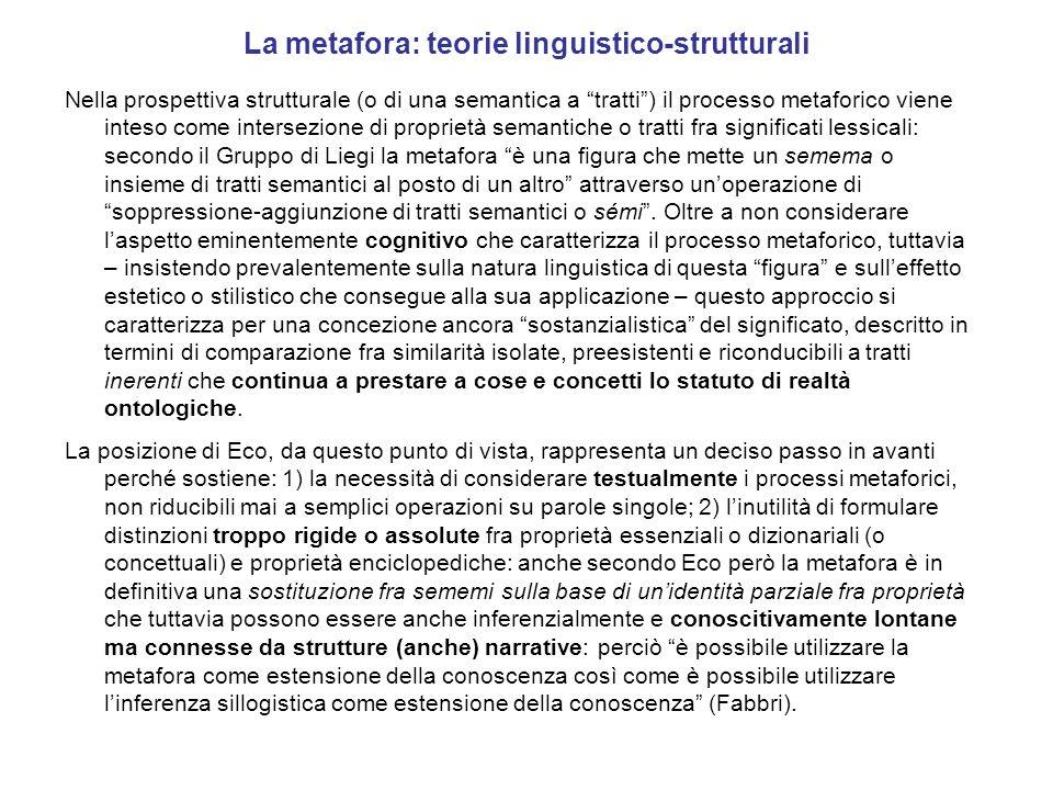 La metafora: teorie linguistico-strutturali Nella prospettiva strutturale (o di una semantica a tratti) il processo metaforico viene inteso come inter