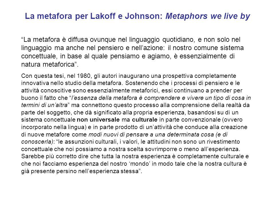 La metafora per Lakoff e Johnson: Metaphors we live by La metafora è diffusa ovunque nel linguaggio quotidiano, e non solo nel linguaggio ma anche nel