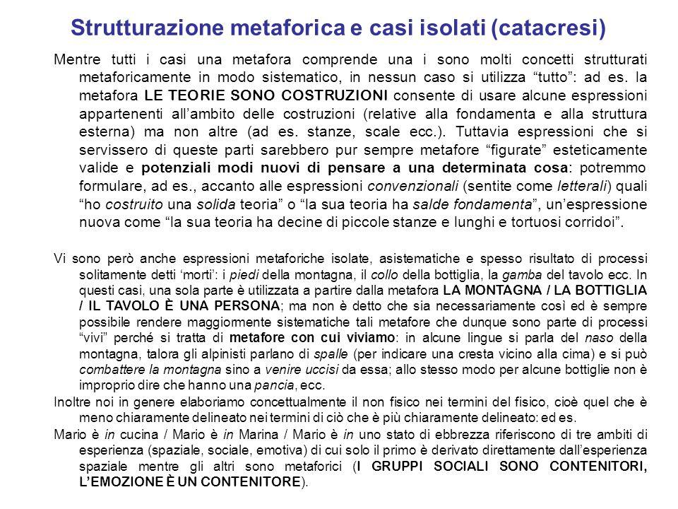 Strutturazione metaforica e casi isolati (catacresi) Mentre tutti i casi una metafora comprende una i sono molti concetti strutturati metaforicamente