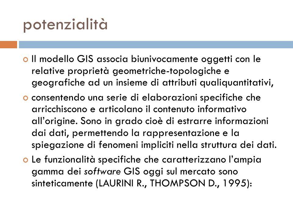 potenzialità Il modello GIS associa biunivocamente oggetti con le relative proprietà geometriche-topologiche e geografiche ad un insieme di attributi qualiquantitativi, consentendo una serie di elaborazioni specifiche che arricchiscono e articolano il contenuto informativo allorigine.