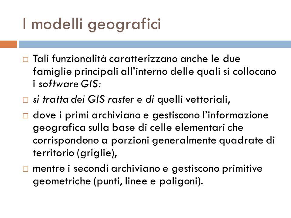 I modelli geografici Tali funzionalità caratterizzano anche le due famiglie principali allinterno delle quali si collocano i software GIS: si tratta d