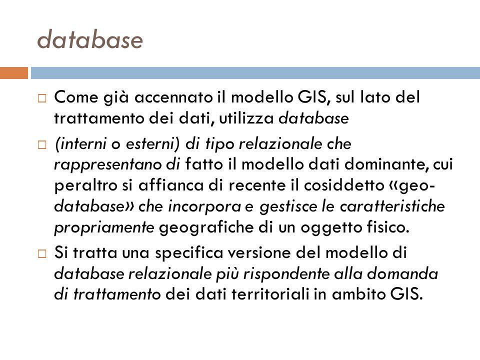 database Come già accennato il modello GIS, sul lato del trattamento dei dati, utilizza database (interni o esterni) di tipo relazionale che rappresentano di fatto il modello dati dominante, cui peraltro si affianca di recente il cosiddetto «geo- database» che incorpora e gestisce le caratteristiche propriamente geografiche di un oggetto fisico.