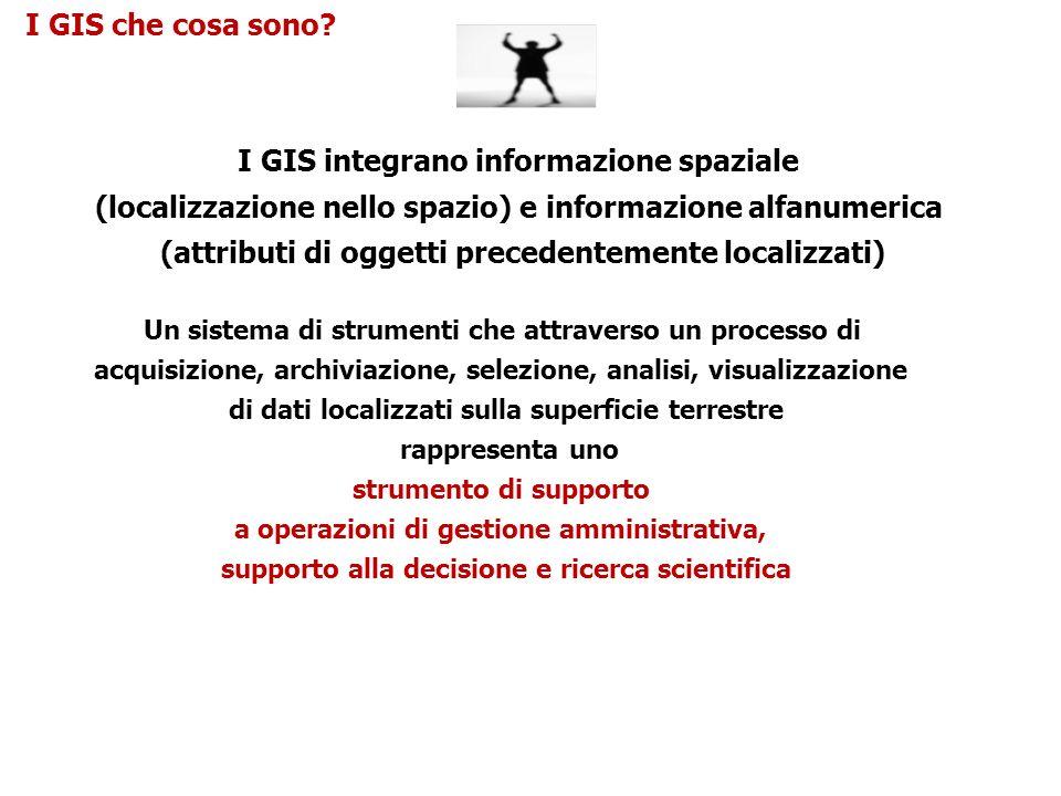 I GIS che cosa sono? I GIS integrano informazione spaziale (localizzazione nello spazio) e informazione alfanumerica (attributi di oggetti precedentem