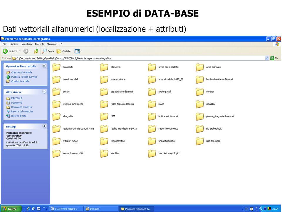 Dati vettoriali alfanumerici (localizzazione + attributi) ESEMPIO di DATA-BASE