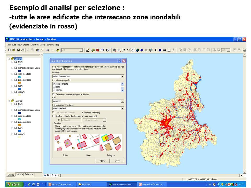 Esempio di analisi per selezione : -tutte le aree edificate che intersecano zone inondabili (evidenziate in rosso)