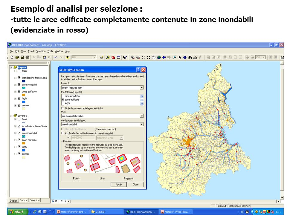 Esempio di analisi per selezione : -tutte le aree edificate completamente contenute in zone inondabili (evidenziate in rosso)