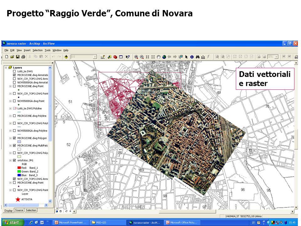 Progetto Raggio Verde, Comune di Novara Dati vettoriali e raster