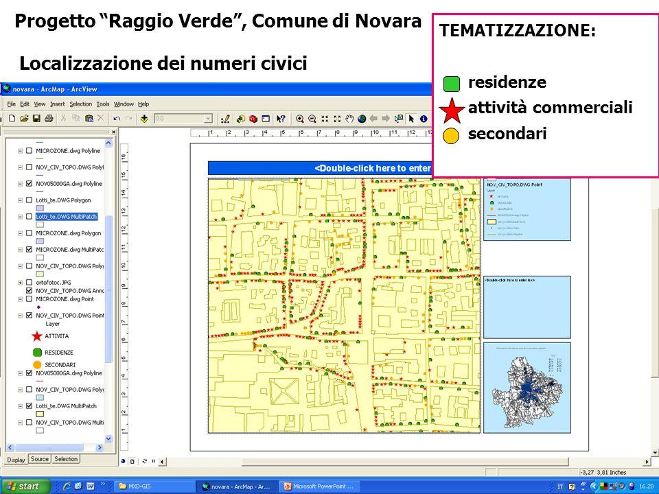 Progetto Raggio Verde, Comune di Novara Localizzazione dei numeri civici TEMATIZZAZIONE: residenze attività commerciali secondari