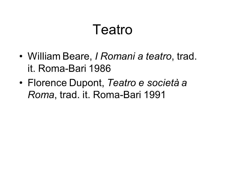 Teatro William Beare, I Romani a teatro, trad. it. Roma-Bari 1986 Florence Dupont, Teatro e società a Roma, trad. it. Roma-Bari 1991