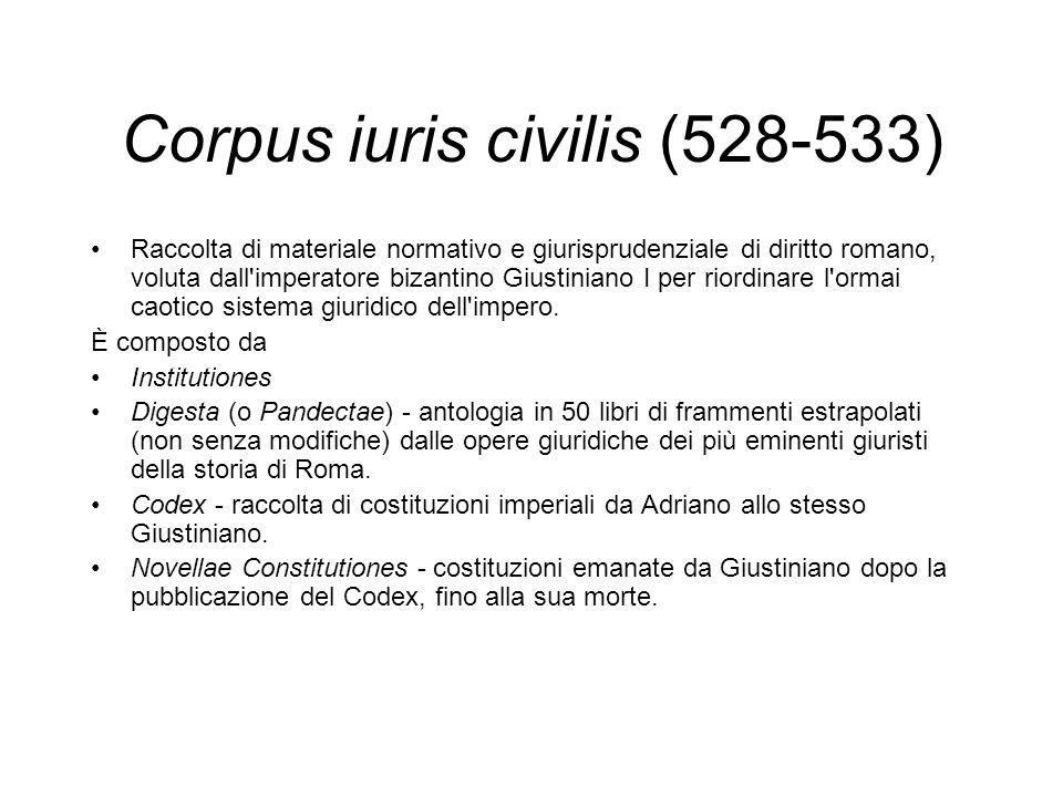 Corpus iuris civilis (528-533) Raccolta di materiale normativo e giurisprudenziale di diritto romano, voluta dall'imperatore bizantino Giustiniano I p