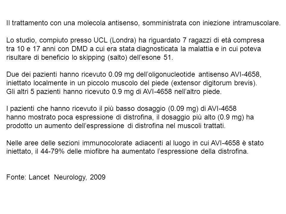 Il trattamento con una molecola antisenso, somministrata con iniezione intramuscolare.